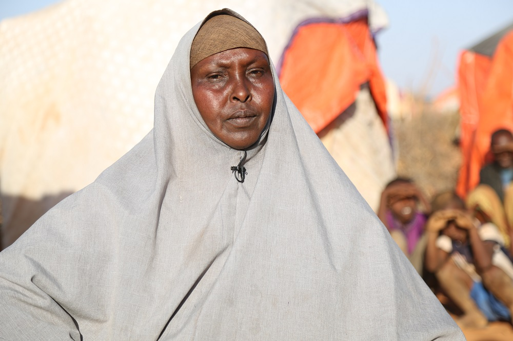 Safia lives in a camp for families displaced by the drought, she says conditions are dire.